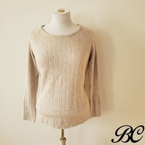 BB Dakota Sweater Knit Ribbed Soft Cold Shoulder